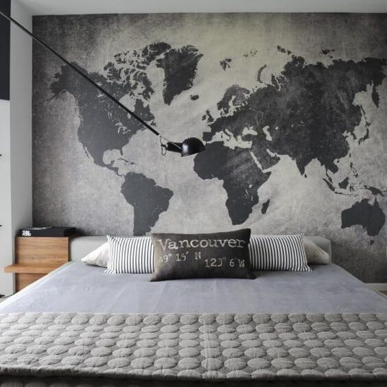 Revestimento para quarto com mapa