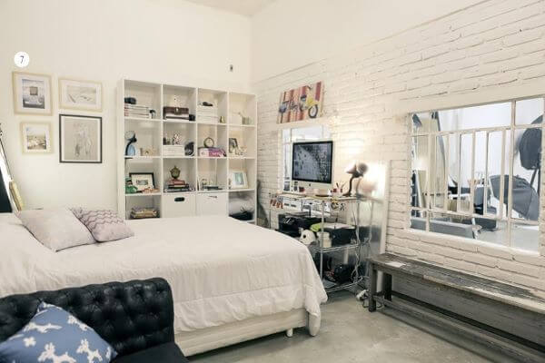 Revestimento para quarto com tijolinho branco