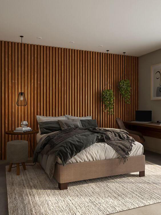 Revestimento para quarto de madeira moderno