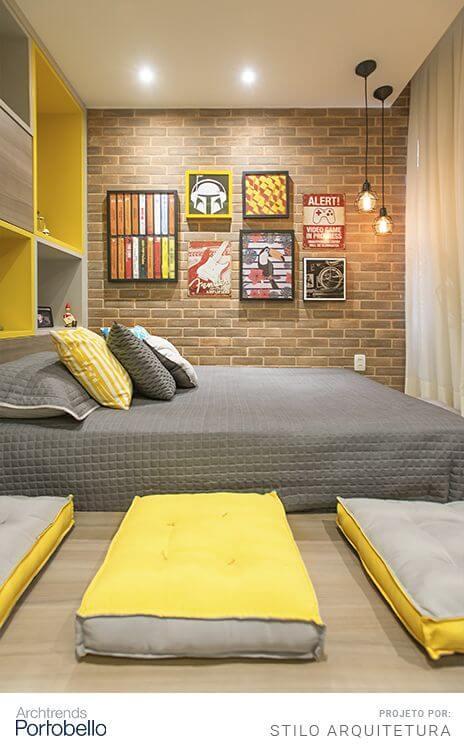 Revestimento para quarto de solteiro moderno