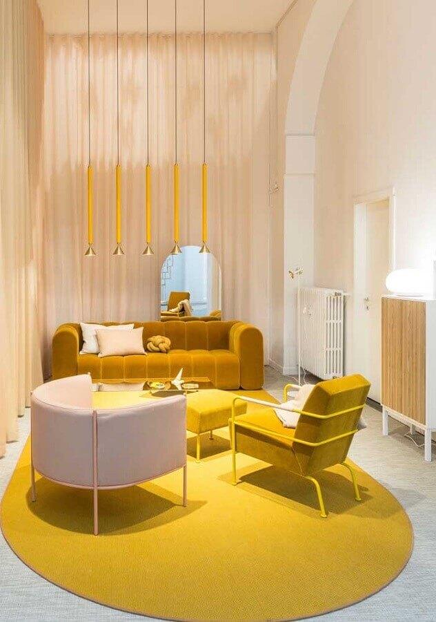 sala amarela com decoração moderna Foto Architecture Art Designs