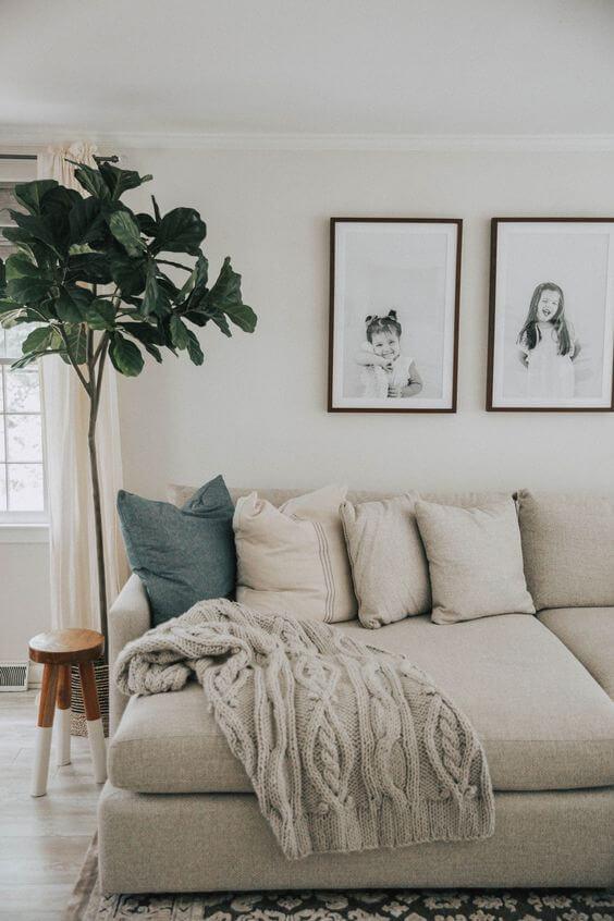 Manta para sofá bege de tricô