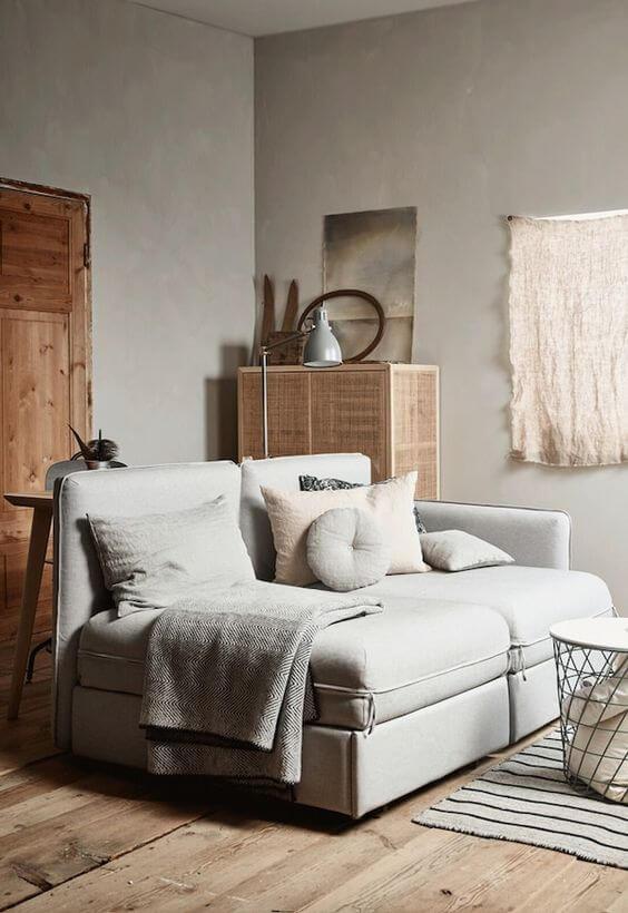 Sofá cama retrátil e reclinável para casas pequenas
