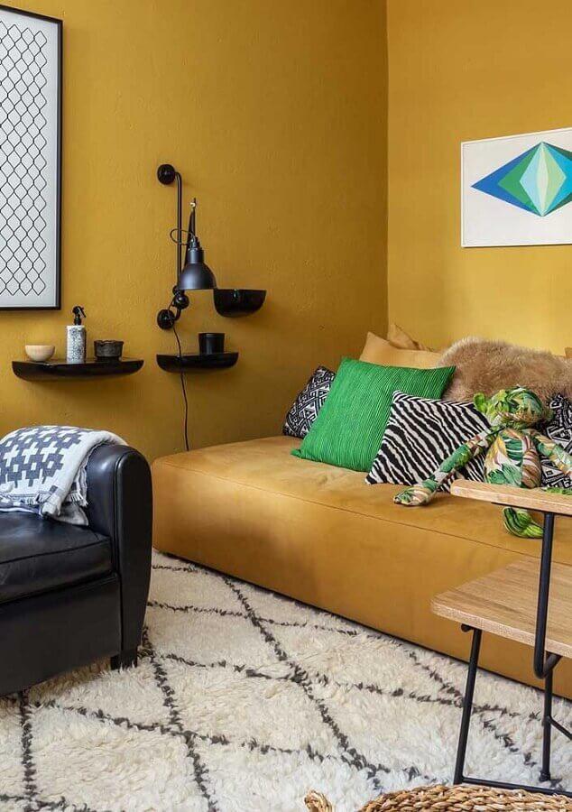 tapete branco felpudo para decoração de sala amarela Foto Architecture Art Designs