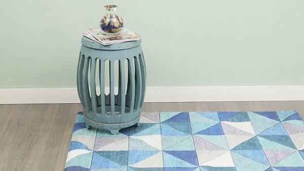 tapete de retalho azul