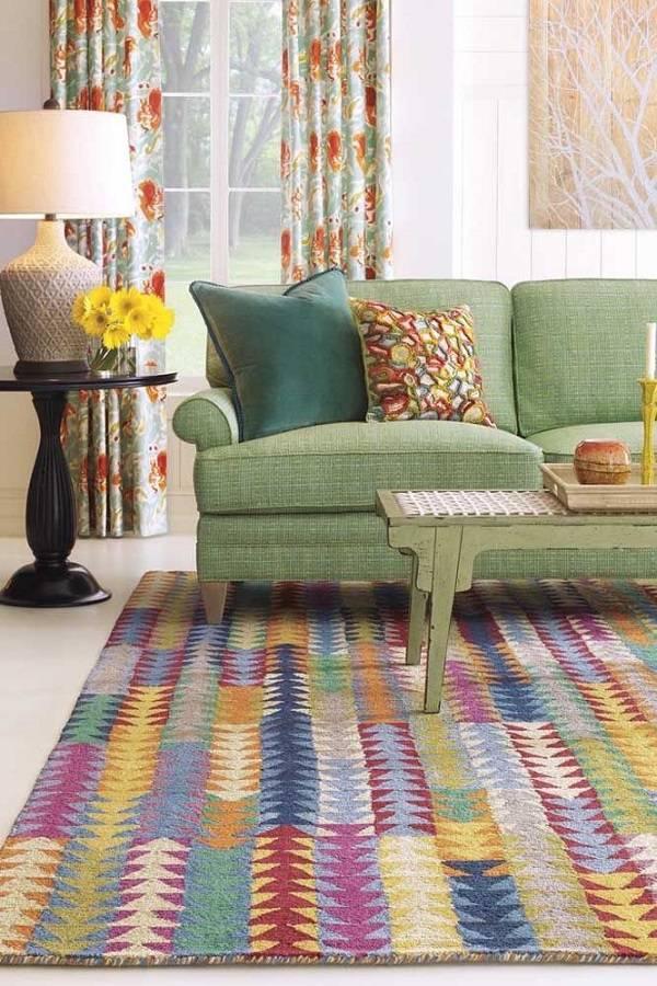 tapete de retalhos colorido sala