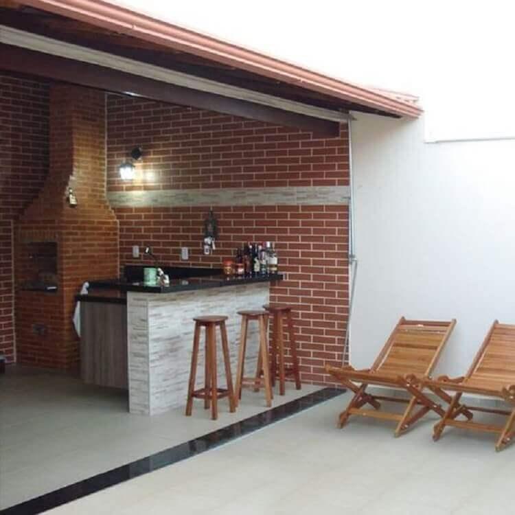 tijolinho a vista para decoração de área gourmet externa simples Foto Pinterest