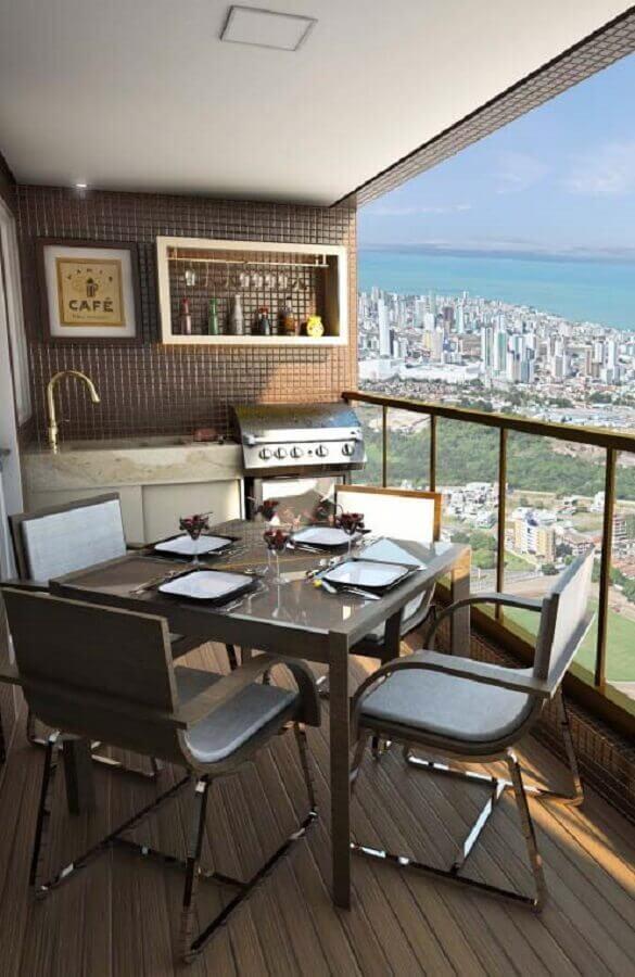 varanda de apartamento com área gourmet pequena e simples Foto Pinterest