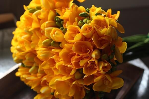 Buquê lindo de frésia amarela