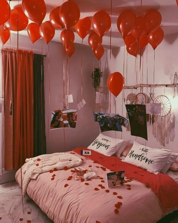 Comemorem cercados de boas lembranças no quarto decorado dia dos namorados