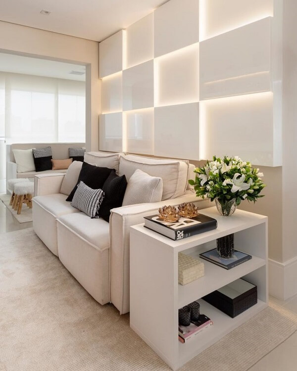 Decoração clean com sofá modular branco