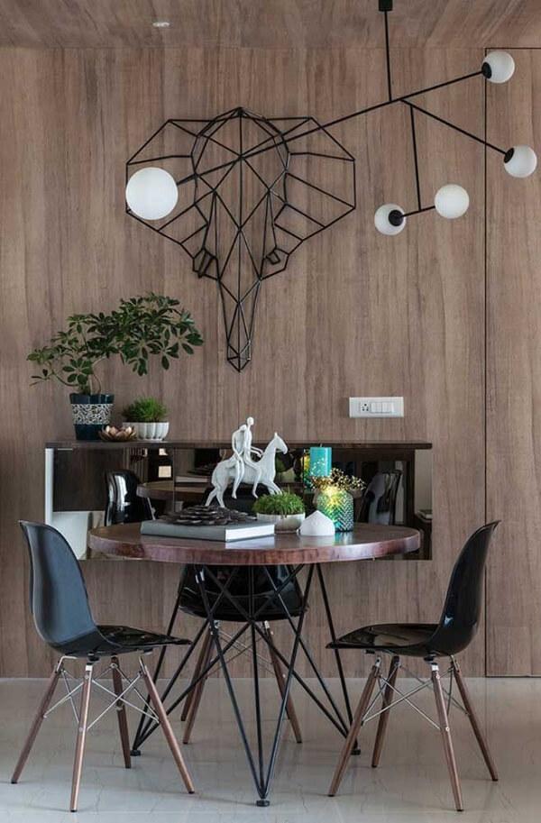 Escultura de parede para sala de jantar de ferro retrata a imagem de um elefante