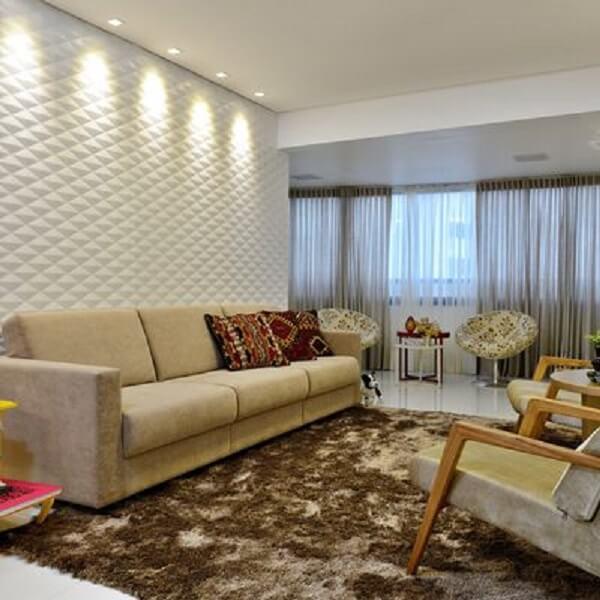 Iluminação com spots na sala de estar