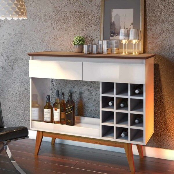 Modelo de aparador bar com adega embutida