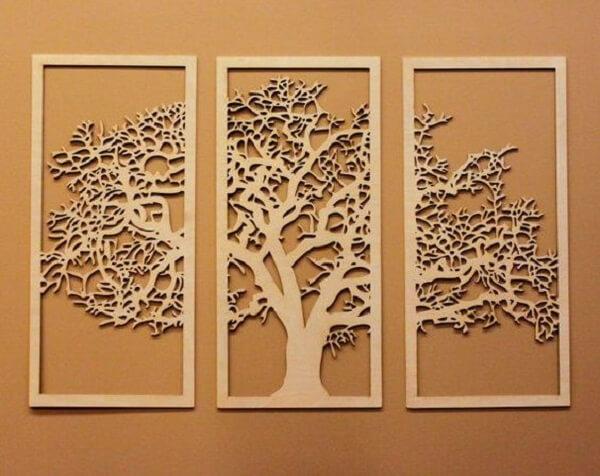 Modelo de escultura de parede em MDF com desenho de árvore