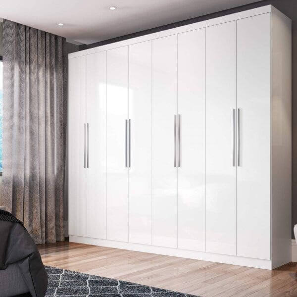 Modelo de guarda roupa casal 8 portas branco