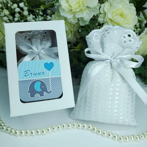 The scented sachet was placed in a personalized box
