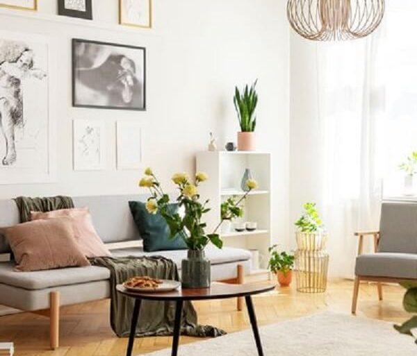 Sala de estar com algumas plantas, flores e detalhes rústicos