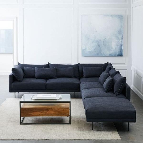Sofá modulado de canto em tom azul