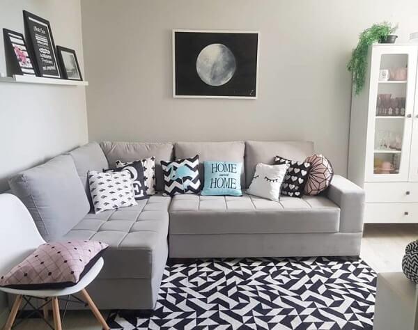 Sofá modular de canto em tom cinza
