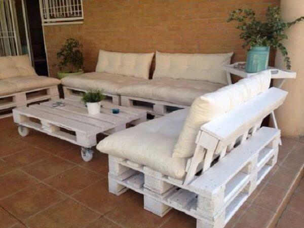 Sofá modular de pallt para o terraço