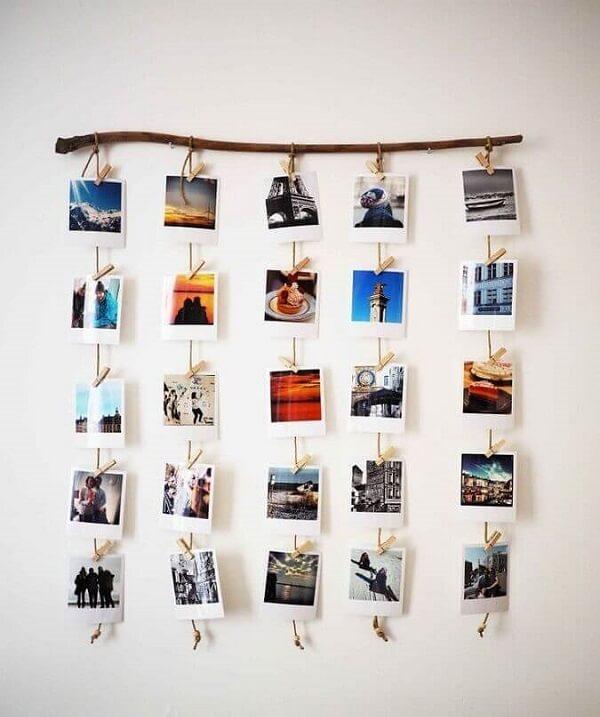 Varal de fotos em galho seco para quarto decorado dia dos namorados