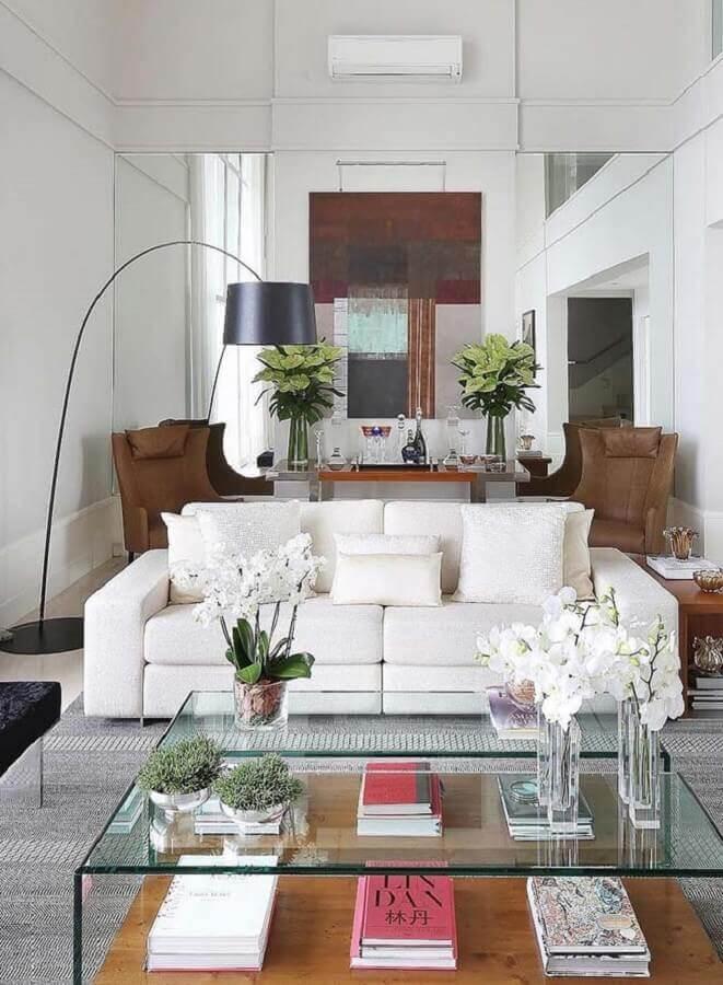 abajur de chão moderno para sala som sofá branco Foto Pinterest