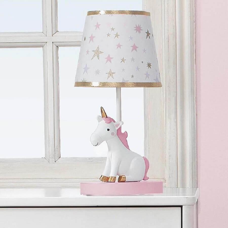abajur para decoração de quarto de unicórnio Foto Lambs & Ivy