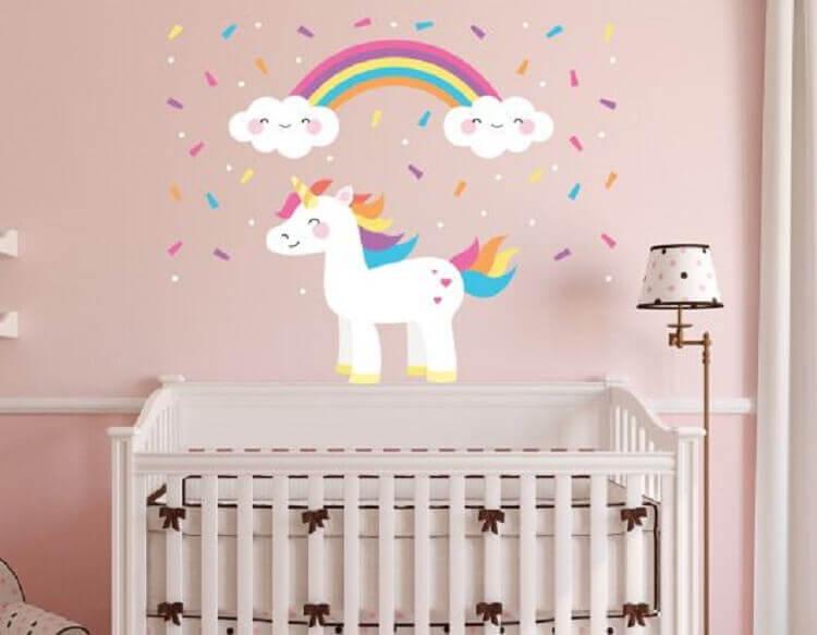 adesivo de parede para decoração de quarto de bebê unicórnio Foto Pinterest