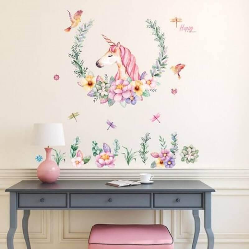 adesivo de parede para decoração de quarto de unicórnio Foto Pinterest