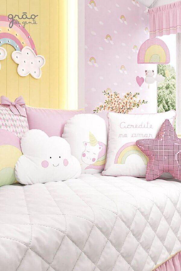 almofadas decorativas para quarto do unicórnio Foto Grão de Gente