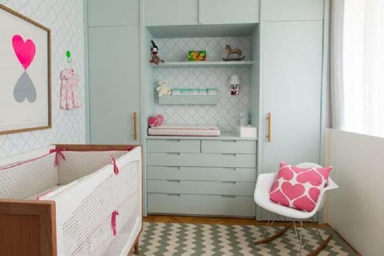 armário verde água para quarto de bebê planejado Foto Solo Infantil