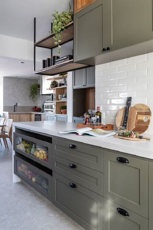 armários planejados cinza para cozinha completa Foto Casa de Valentina