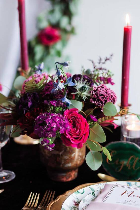 Arranjo de flores para decoração romântica