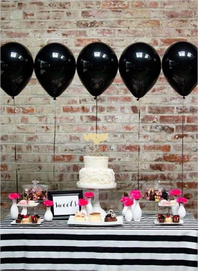 balões pretos para decoração de mesa de festa infantil simples Foto Etsy