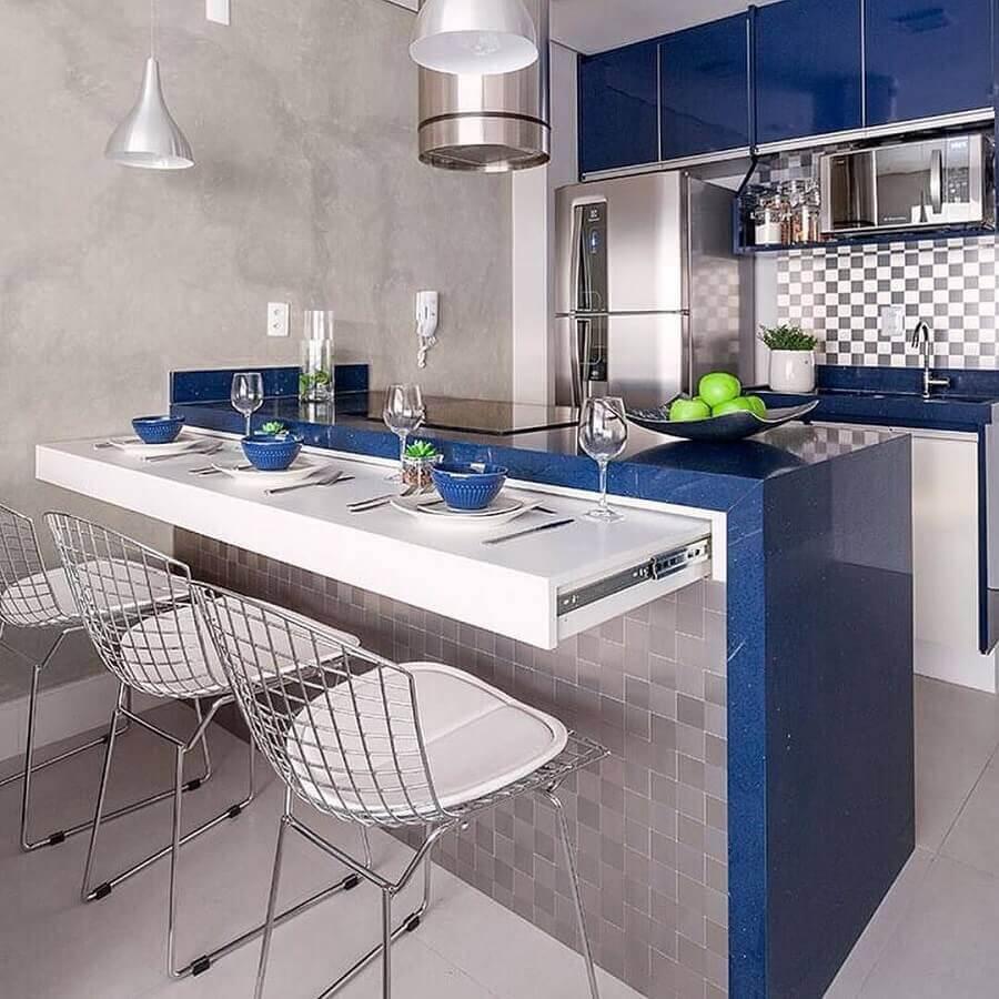 bancada de cozinha completa azul e cinza Foto Webcomunica