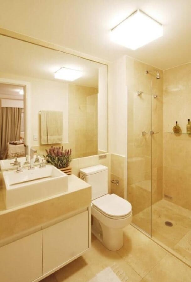 banheiro pequeno decorado na cor creme Foto Dcore Você