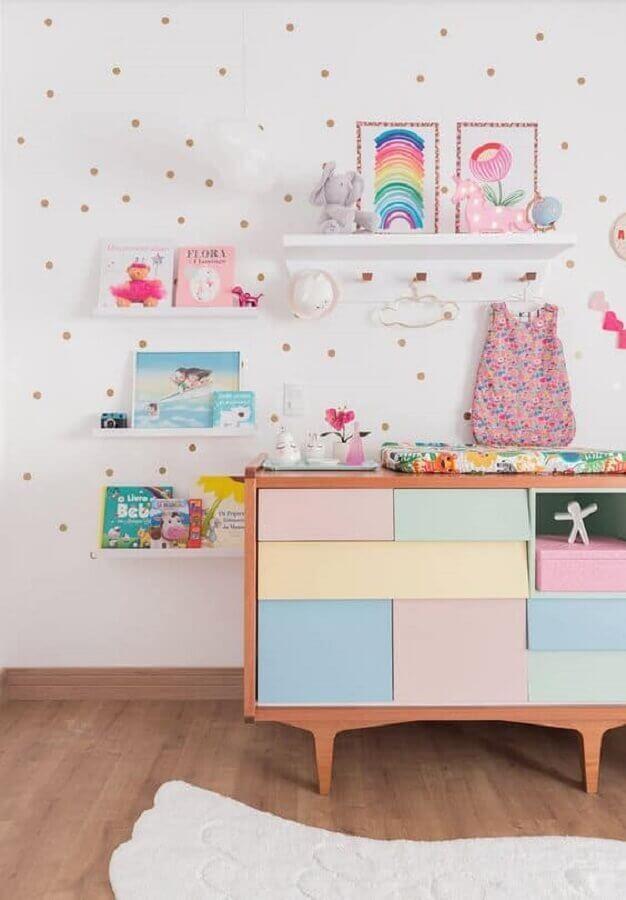 cômoda colorida para decoração de quarto unicórnio Foto Baba Souk