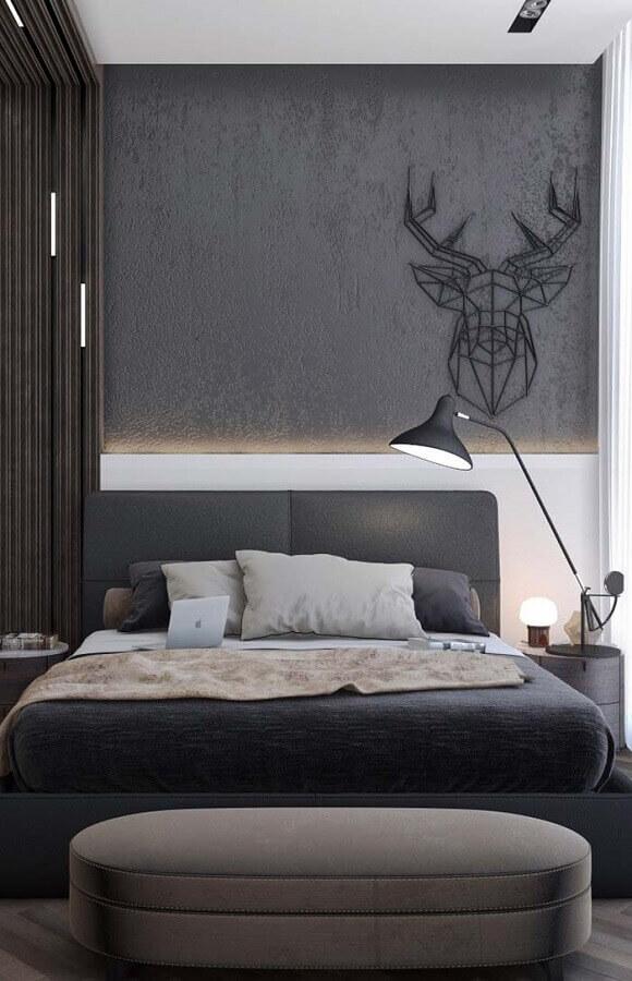 cabeceira estofada casal para decoração de quarto moderno todo cinza Foto Home Fashion Trend