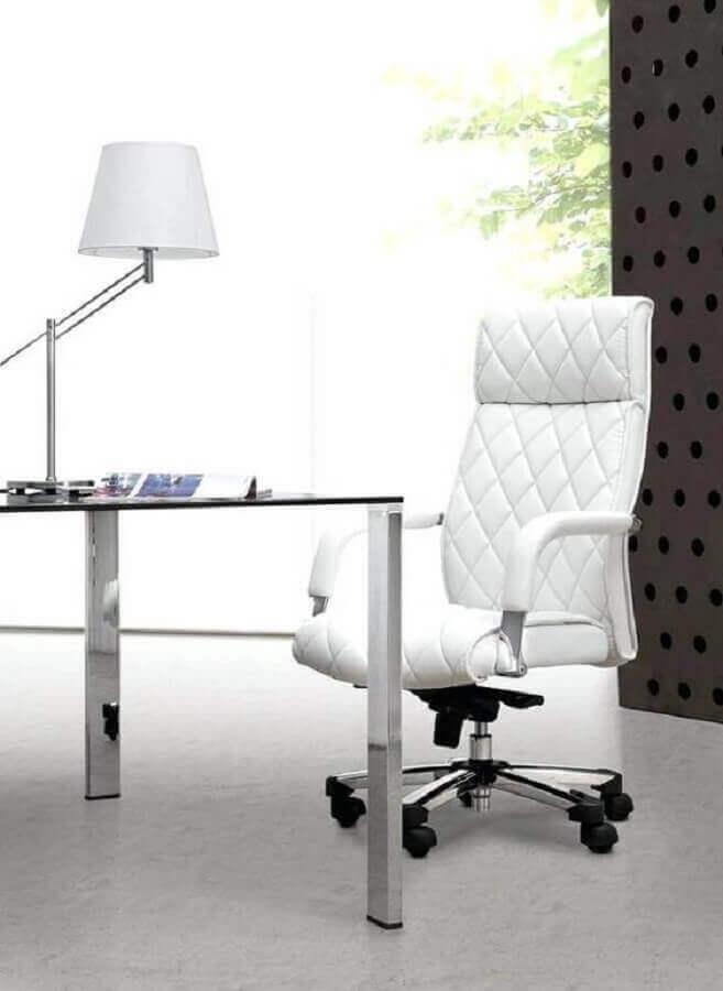 cadeira de escritório branca confortável Foto Pinterest