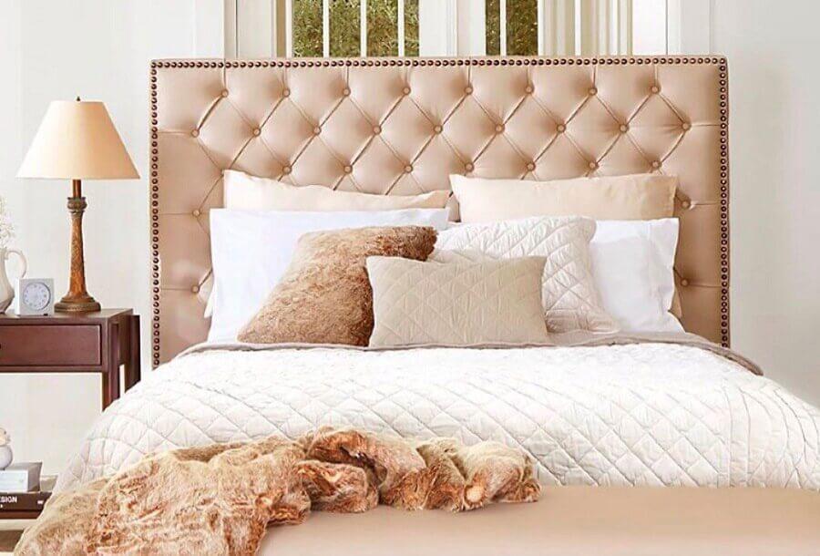 cama box casal com cabeceira capitonê rosa claro Foto Pinterest