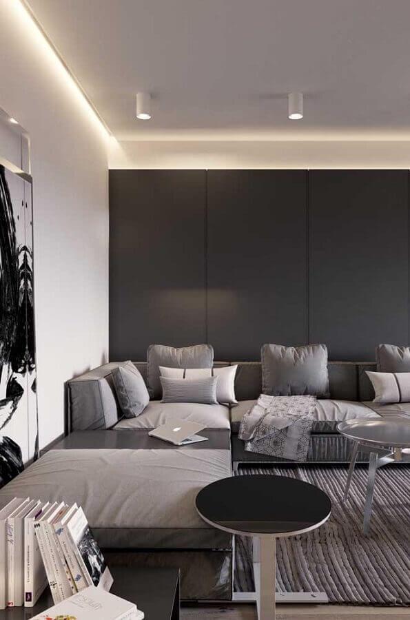 cinza chumbo parede para sala moderna com sofá de canto Foto ArchZine