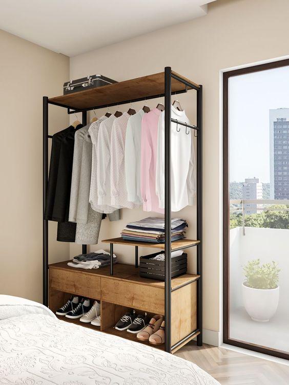 Closet modulado no quarto pequeno