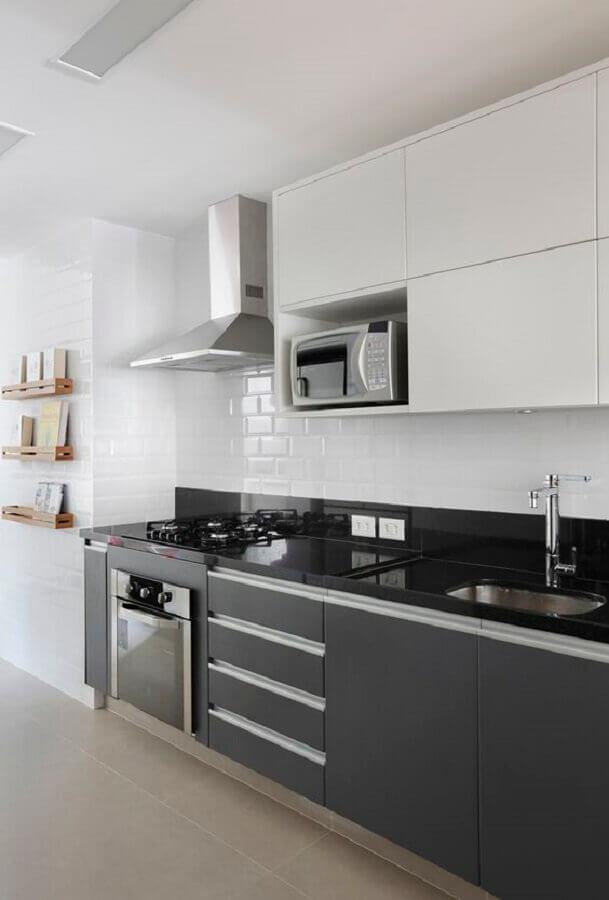 cor cinza chumbo para cozinha planejada com armário aéreo branco Foto Casa de Valentina