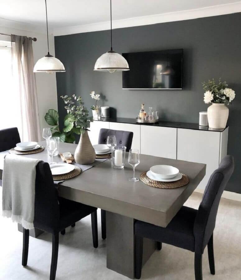 cor cinza chumbo para decoração de sala de jantar moderna com buffet branco Foto Karly Hughes