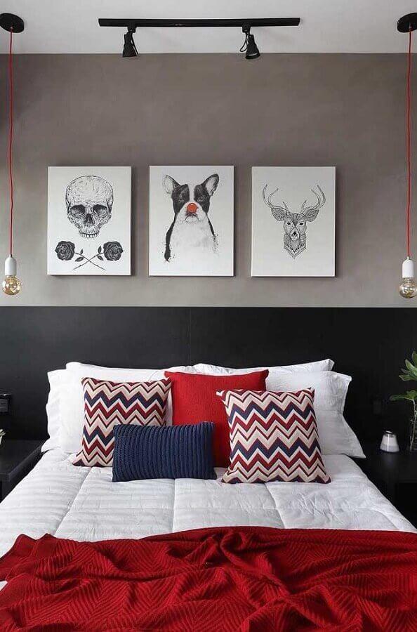 cor cinza chumbo para quarto moderno decorado com almofadas coloridas Foto Pinterest