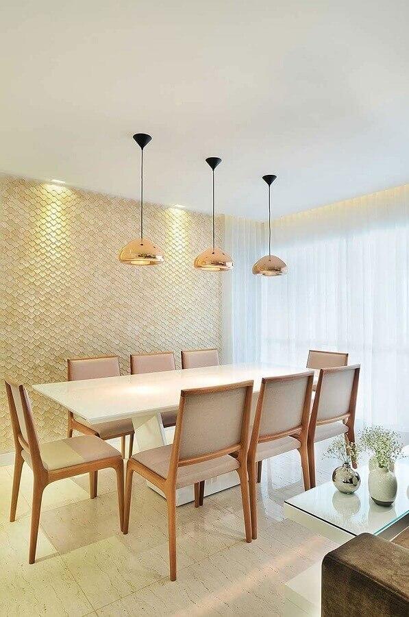 cor creme claro para decoração de sala de jantar com pendentes rose gold Foto Architecture Art Designs