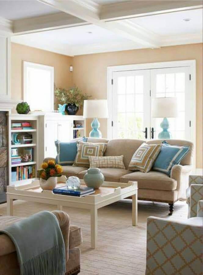 cor creme e azul claro para decoraçao de sala clássica Foto Decor Home Ideas
