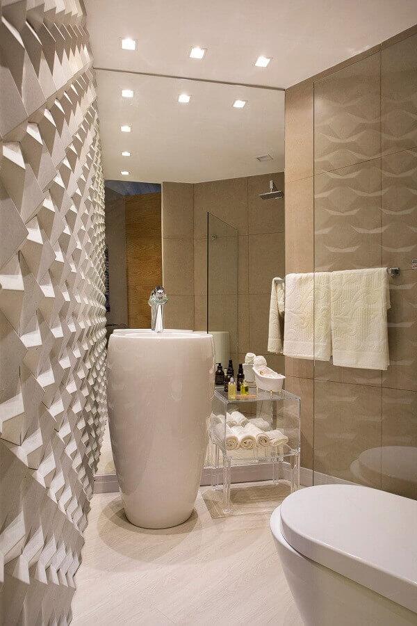 cor creme para banheiro moderno com revestimento 3d Foto Webcomunica