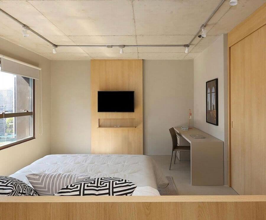 cor creme para decoração de quarto simples com painel de madeira Foto Pinterest